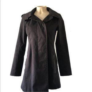 Mackage Black/Navy Button Up Hooded Trench Coat XS
